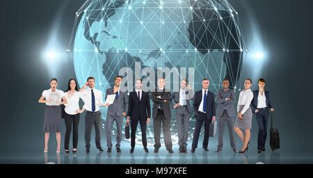 Business people standing in front of world globe with lights - Stock Photo