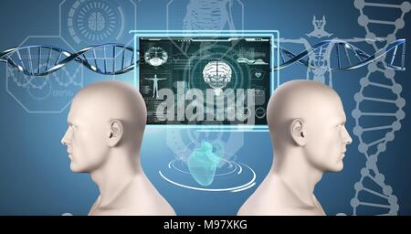 Clone twin 3D men with genetic DNA - Stock Photo