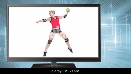 handball volleyball on television - Stock Photo
