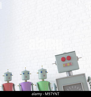 Female robots looking at male robot, 3d rendering - Stock Photo