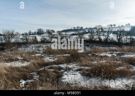 Winter landscape from Carsington Water in Derbyshire - Stock Photo