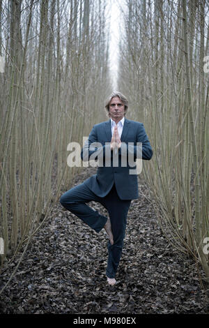 Businessman practicing yoga amidst willows - Stock Photo