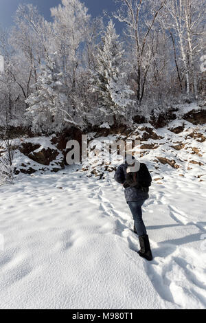 Russia, Amur Oblast, back view of man walking in snow-covered nature - Stock Photo