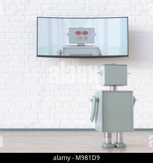 Robot looking at screen with robot, 3d rendering - Stock Photo