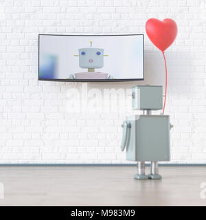 Robot with heart-shaped balloon looking at screen with robot, 3d rendering - Stock Photo