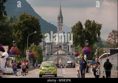 Lourdes. Shrine of Our Lady of Lourdes. France. - Stock Photo