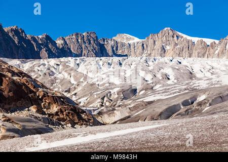 Schweiz, Kanton Wallis, Alpen, Gebirge, Rhonegletscher, Talgletscher, Gletscher, Gletscherschmelze, Klimawandel - Stock Photo