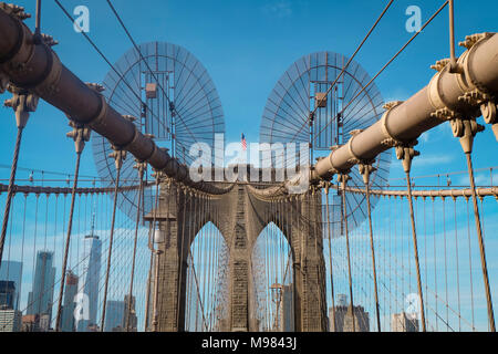 USA, New York City,  Brooklyn Bridge Stock Photo