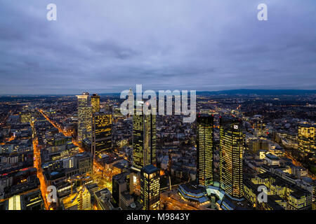 Germany, Frankfurt, View from Maintower to financial district, blue hour - Stock Photo