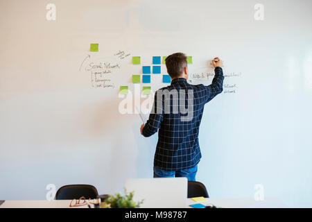 Businessman in office writing on whiteboard - Stock Photo