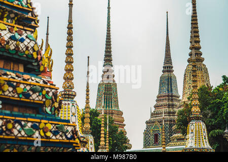 Thailand, Bangkok, pagodas of Wat Pho temple - Stock Photo