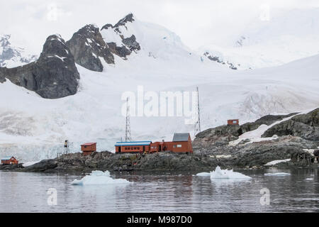 view of Argentinian research station, Almirante Brown, Antarctica - Stock Photo