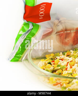 prepared vegetable blend from same packet - Stock Photo