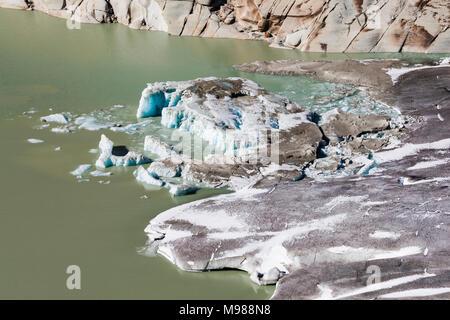 Schweiz, Kanton Wallis, Rhonegletscher, Talgletscher, Gletscherzunge, Gletscherzungensee, See, Gletscher, Gletscherschmelze, Klimawandel - Stock Photo