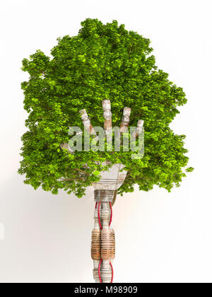 Robot hand holding tree, 3d rendering - Stock Photo