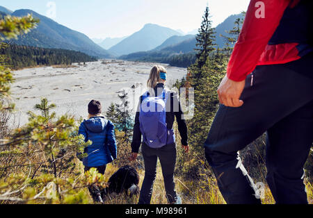 Germany, Bavaria, Karwendel, group of friends hiking in the mountains