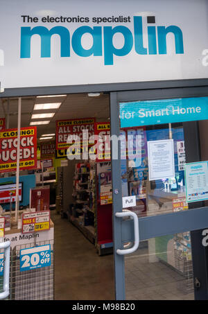 The Maplin store in Brentwood, Essex is set to close following the firm falling in to administration.  It is holding a closing down sale. - Stock Photo