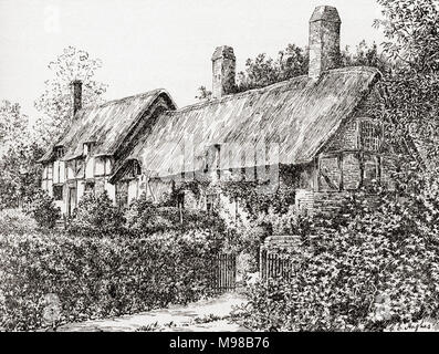 Anne Hathaway's Cottage, Stratford-upon-Avon, England.  Anne Hathaway, 1556 – 1623.  Wife of William Shakespeare, 1564 (baptised) – 1616.  English poet, playwright and actor.  From A Life of William Shakespeare, published 1908. - Stock Photo