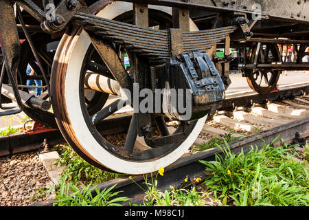 Old Soviet locomotive wheels close - Stock Photo