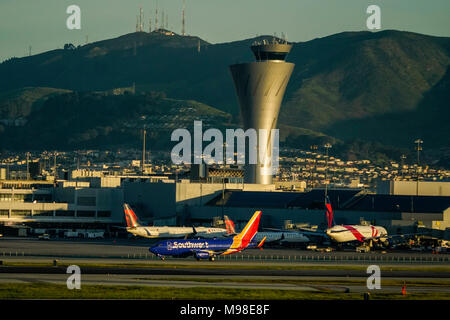 San Francisco International Airport with control tower - Stock Photo