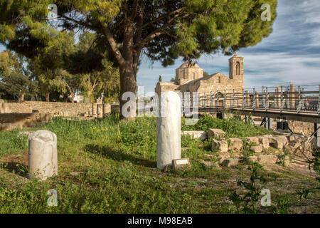 St Paul's Pillar Kato Pafos, Mediterranean religious holy site in paphos, cyprus, europe - Stock Photo