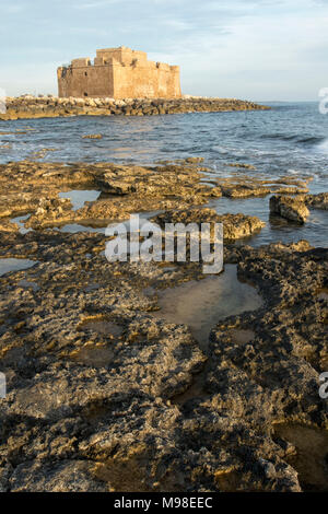 Paphos castle (fort)  in paphos harbour kato paphos, from the mediterranean coast of cyprus, paphos, europe - Stock Photo