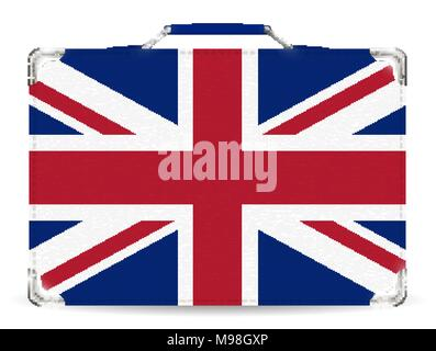 England flag on suitcase travel bag vector - Stock Photo