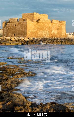 Paphos castle / fort in kato paphos harbour on the mediterranean coast of paphos, cyprus, mediterranean, europe - Stock Photo