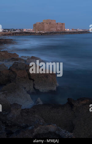 Paphos castle / fort in kato paphos harbour on the mediterranean coast of paphos, cyprus, mediterranean, europe - Stock Photo