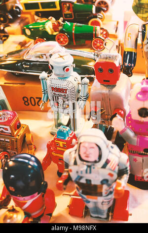 Classic toys,Robot vintage toys.Remade copy.Used film filter style. - Stock Photo