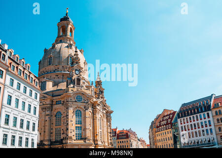 Frauenkirche church and european buildings in Dresden, Germany - Stock Photo