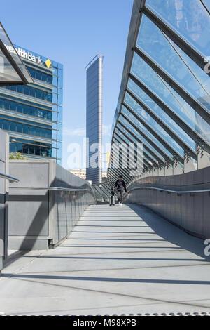 Pedestrian bridge to Darling Harbour, Bathurst Street, Sydney, New South Wales, Australia - Stock Photo