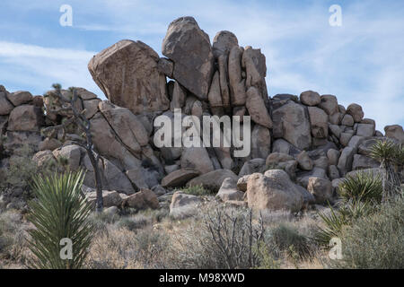 close up of geologic formation of rocks and boulders at Joshua Tree National Park - Stock Photo