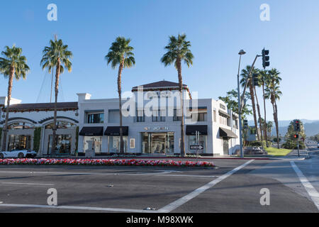 Palm Desert, CA - December 12, 2017 - Shops on El Paseo at the corner of El Paseo and Monterey Ave./Highway 74. El Paseo is known as the Rodeo Drive o - Stock Photo