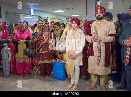 A groom and his brother at a Sikh wedding ceremony in Richmond Hill, Queens New York. - Stock Photo