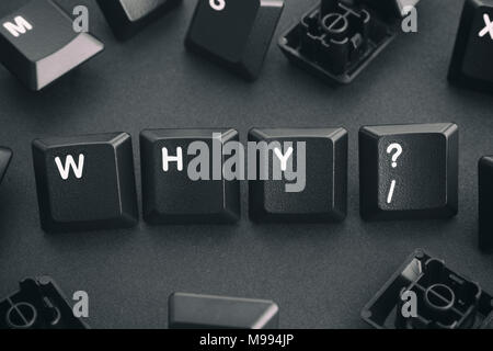 Why Question Written with Computer Keyboard Keys. Concept Image. Close up. - Stock Photo