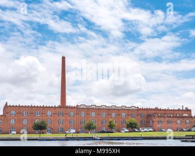 Aveiro, Portugal - July 9, 2017: View of the facede of the Jeronymo Pereira Campos Filhos ceramics factory - Stock Photo
