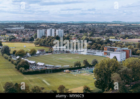 Worcester, UK. Looking over New Road Cricket Ground to St Johns. - Stock Photo
