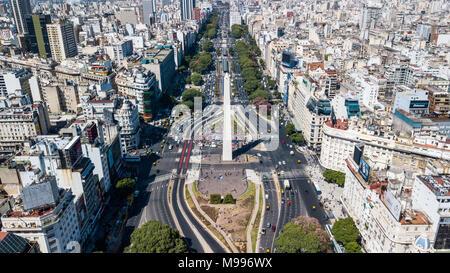 Obelisco de Buenos Aires or Obelisk of Buenos Aires, Buenos Aires, Argentina - Stock Photo