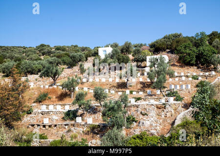 A hillside covered in bee hives on walking route 6 on Sifnos Island, Cyclades, Greece. Sifnos has a comprehensive network of walking, hiking routes. - Stock Photo