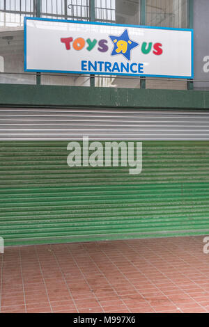 Front of the closed Toys R Us shop in Plymouth, Devon. Metaphor for high street retail casualties. Death of the high street metaphor, out of business. - Stock Photo