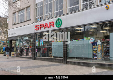 Death of the High Street metaphor / concept - Exterior of SPAR shop on Armada Way, Plymouth, Devon. - Stock Photo