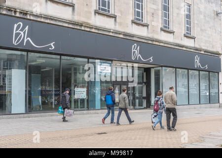 Empty BHS store in Plymouth, Devon, after closing down & liquidation. For struggling high street retailers, death of high street, out of business. - Stock Photo