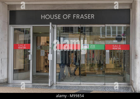 Exterior entrance House of Fraser shop Plymouth, Devon. Metaphor House of Fraser shop closures (2018), Death of the High Street, high street squeeze. - Stock Photo