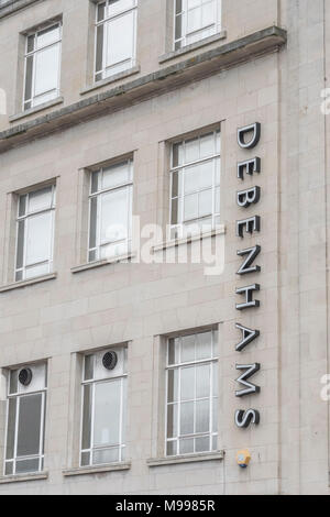 Exterior of Debenhams retail shop in Plymouth with copy space, Devon. Metaphor for 2018 Debenhams profits plunge. Death of the high street concept. - Stock Photo
