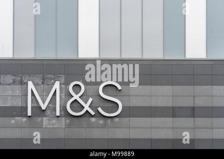 Marks and Spencer / M&S logo at Drake Centre mall, Plymouth. Possible metaphor for M&S store closures 2018, profit warning, profits plunge, job cuts. - Stock Photo