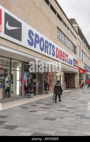 Death of the High Street metaphor / concept - Exterior of the SPorts Direct store in Plymouth, Devon. - Stock Photo