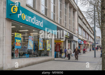Front of Poundland ship in Plymouth, Devon. Metaphor for discount retailers. Death of the high street concept. - Stock Photo