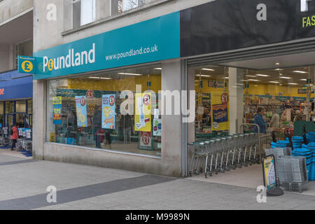 Death of the High Street metaphor / concept - Front of Poundland ship in Plymouth, Devon. Metaphor for discount retailers. - Stock Photo