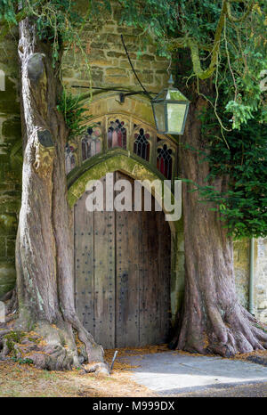 Trees growing around one of the doorways to St. Edwards Church, Stow-on-the-Wold, Cotswolds, Gloucestershire, England - Stock Photo